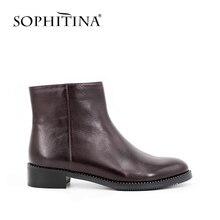 Sophitina женщина корова кожа натуральная кожа ботильоны круглый носок на молнии ботинки челси Маленькая Кристалл вокруг женская обувь B001