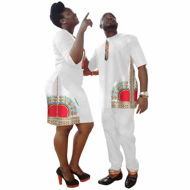 Африканский Базен Riche платья африканские платья для женщин Новое Поступление Топ Мода хлопок Дашики 2018 Мужская футболка одежда для пары