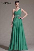משלוח חינם קו שמלות תחרות כתף אחת Ruched מחוך ירוק שיפון שמלות ערב