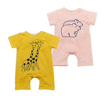 Newborn Baby Outfits Giraffe Bear Cartoon Short Sleeve Summer Cotton Romper Cute Jumpsuit Baby Boy Clothing Roupas Infantil
