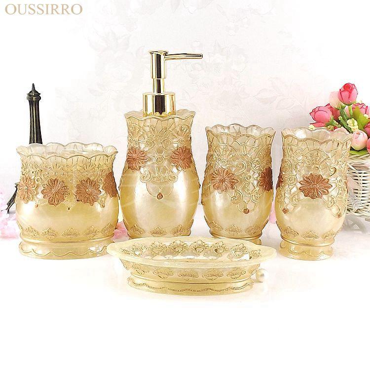 OUSSIRRO Moda suministros de baño de resina conjunto de cinco piezas de baño de