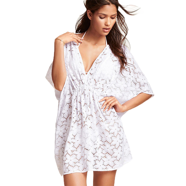 White Summer Beach Dress Crochet Lace Sundresses Plus Size V Neck