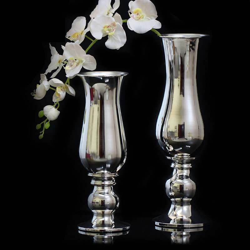 Europe Modern and simple Silver plated flower vases iron metal Table setting decoration vase tall vases for wedding 022