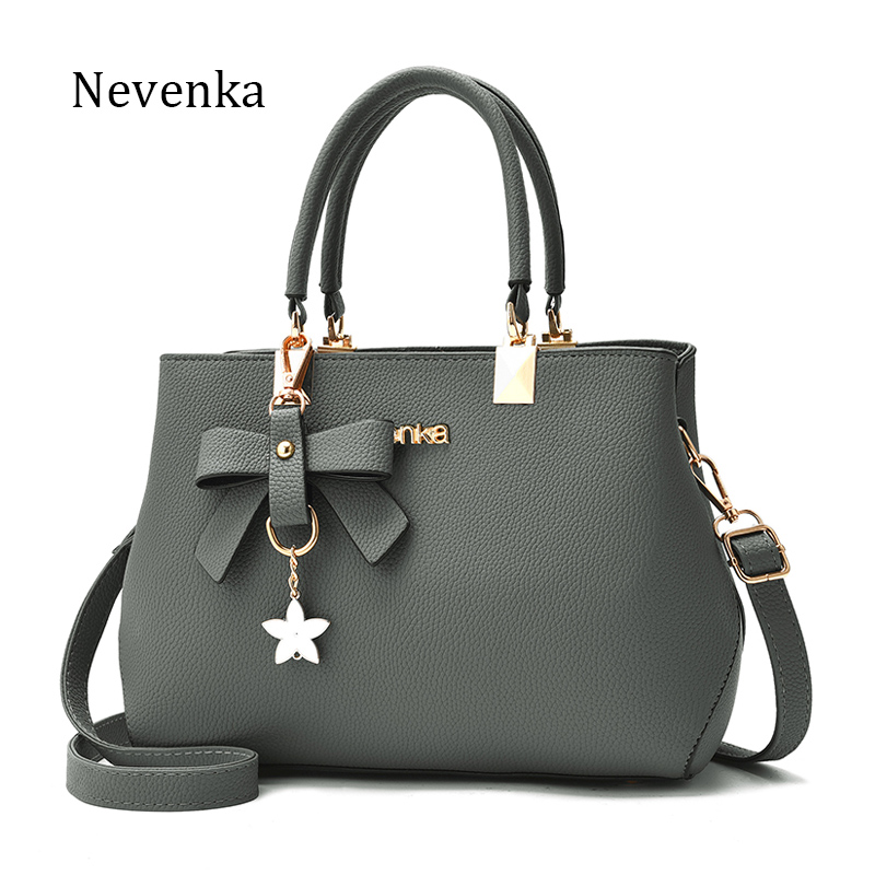 Nevenka Women Leather Bag Brand Designer Bow Star Pendant Handbag Fashion Solid Style Shoulder Bags Luxury Casual Tote 2017 New fashion star 2017 new fashion women s hand recliner leather bag female casual style