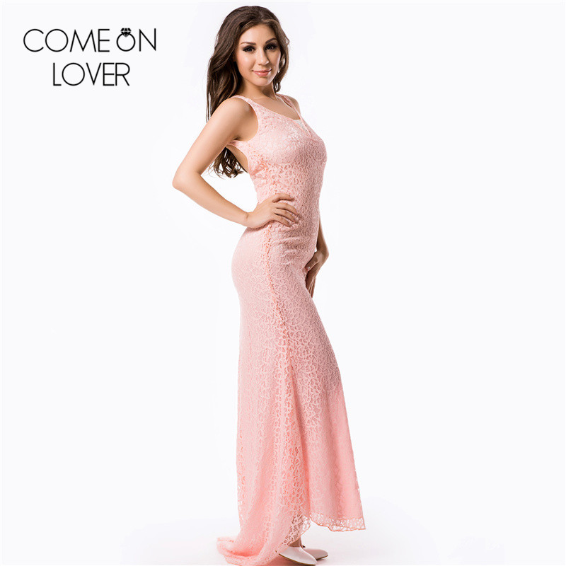 RE80028 Comeonlover Popular high quality pink/rose red long dress back halter sexy plus size dress evening sexy womens clothing