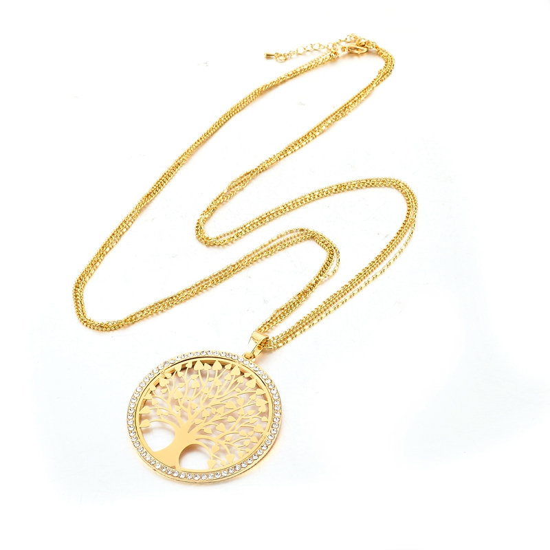 LongWay Gold Color Tree Of Life Jewelry Set For Women Girls Necklace Earrings Bracelets Wedding Crystal Jewellery Set SET160008 2
