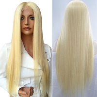 Raw Indian Human Hair Straight Lace Front Wig 613 Honey Blond Hair Pre Plucked Full Lace Human Hair Wigs Can Be Dyed to Darker
