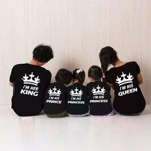 H1313, семейные Топы в стиле панк, одинаковые футболки принцессы с короной и королевой