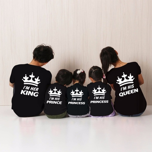 f02823ff02cdc7 H1313 Family Punk Tops Family King Queen Matching Princess Prince Crown Hat  T-Shirt