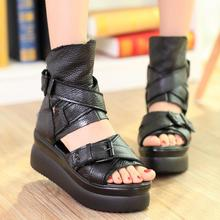 2017 New Summer Shoes Women White Open Toe Button Belt Thick Heel Wedges Platform Shoes Fashionable Casual Sandals Female цены