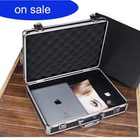 aluminium box tool case 400*280*90 MM tool and file storage Hard carry tool box Hand Gun Locking Pistol case with foam lining