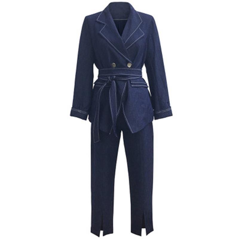 Pantalones de moda trajes mujer otoño nuevo estilo británico traje de talla grande mujeres cinturón elástico traje de dos piezas Mujer sizeXL 5XL-in Trajes de pantalón from Ropa de mujer    1
