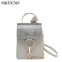 Micocah сумка Для женщин сумка моды круглые металлические кольца сумки цепи мини Повседневное Стиль PU Материал серый Брон q3140