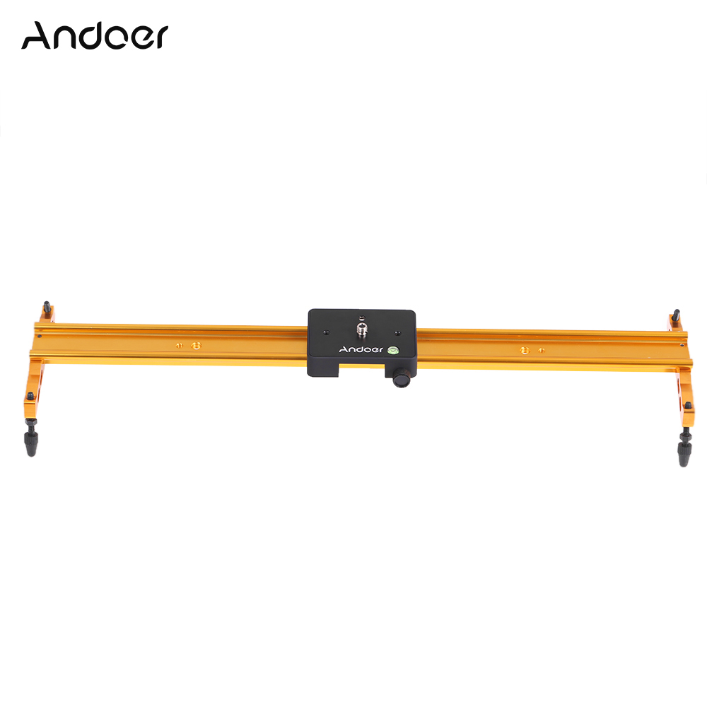 Andoer 60cm Video Track Slider Dolly Track Rail Stabilizer For Canon Nikon Sony Cameras Camcorders Max Load Capacity 6Kg Gold
