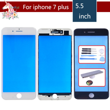 For iPhone 7 PLUS Touch Screen Digitizer Lens Front glass LCD panel with frame bezel for iphone7p LCD External GLASS Replacement