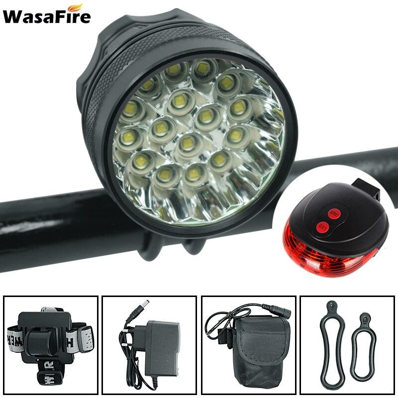 WasaFire 40000lm 16x XML T6 LED Bicycle Light Laser bike Tail Light Led farol Bike front
