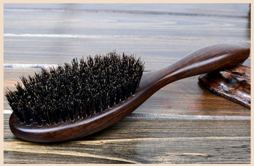 Natural sândalo fino pente anti-estático cuidado escova