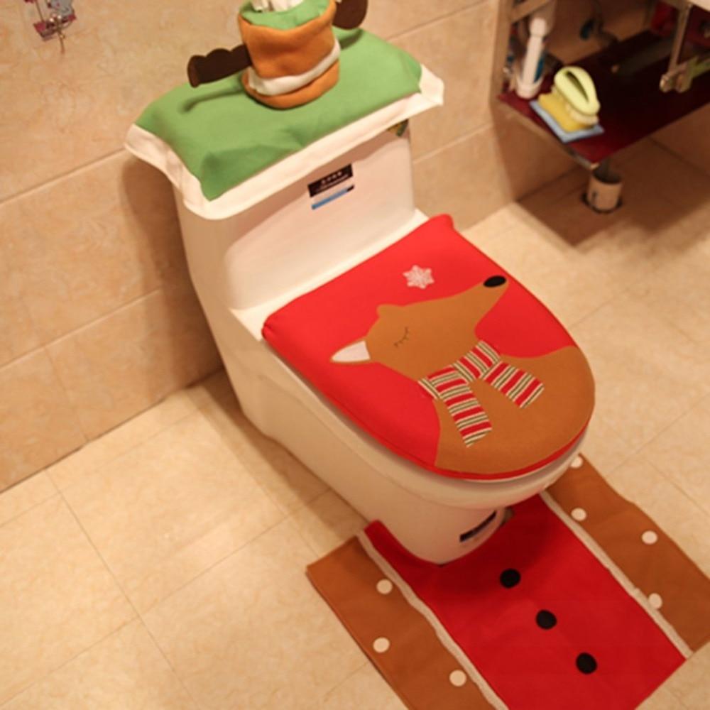 Set Of 3 Christmas Toilet Seat Cover Elk Toilet Foot Pad