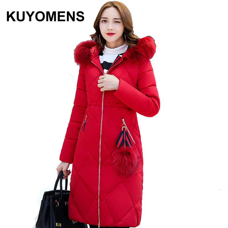 KUYOMENS Winter Jacket Women 2017 Winter Coat Long Parka Luxury Fur collar Cotton-Padded Coat Women Wadded Jackets Plus Size winter jacket women 2017 new winter coat women long parka luxury fur cotton padded coat women wadded jackets plus size 3xl