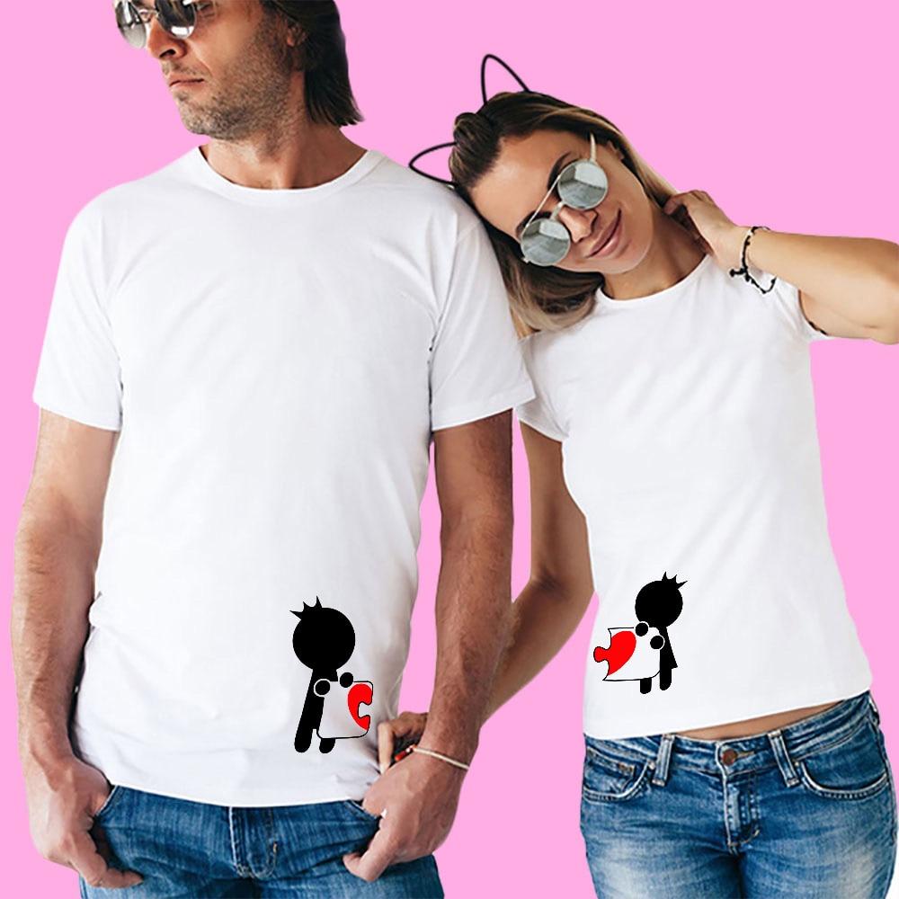 YOFOCOO Women Print Beautiful Girl T shirt Fashion O Neck T Shirt Couples T Shirt for Lovers Couple Clother Short Sleeve T shirt in T Shirts from Men 39 s Clothing