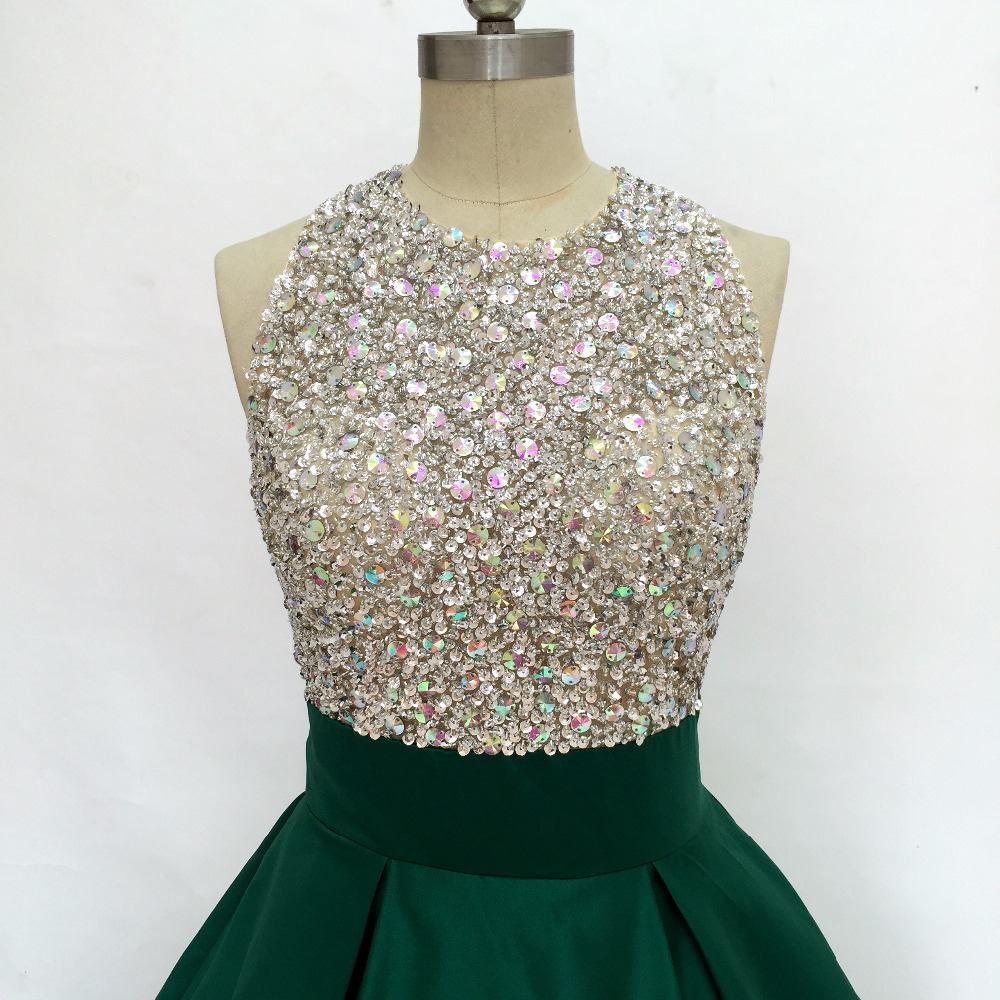 Green Color Evening Dresses With Crystal Ball Gown 2019 Real Photo Formal  Evening Gowns Satin Prom Dresses Cheap Halter Events-in Prom Dresses from  Weddings ... 869d1e0b4b1b