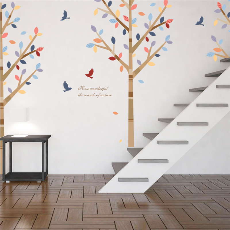 Wald Bunte Baum Tiere Vgel Wandaufkleber Fr Wohnzimmer Schlafzimmer TV Sofa Hintergrund Restaurant Cafe Decor Wandtattoo