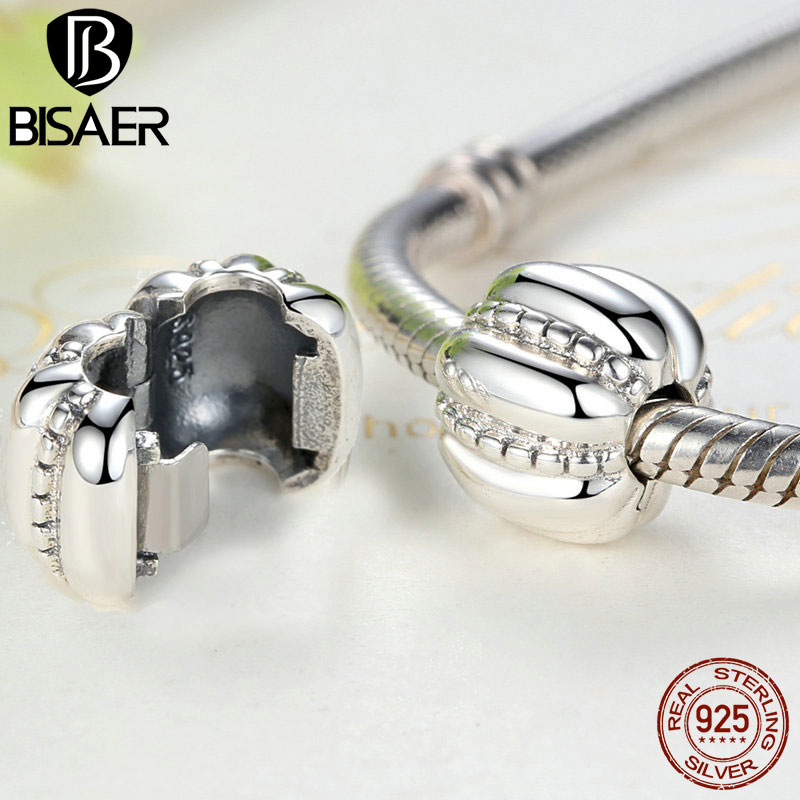 New Arrival 925 Sterling Silver Crazy Clip Stopper Beads Charms Fit Pan Original Charm Bracelet DIY Fashion Jewelry HTC010