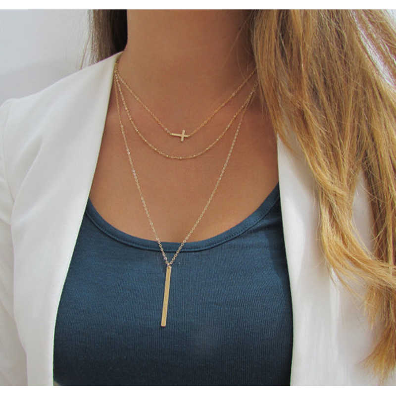 2018 Retro simple copper beads chain alloy cross metal rod 3 layer Set Pendant Necklaces Bohemian jewelery LXL097