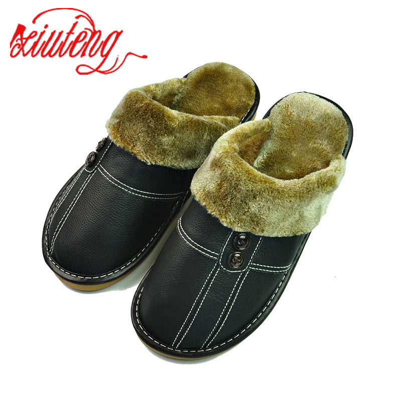 Xiuteng Winter Slippers Men Genuine Leather Flat Shoes 2018 Home Indoor Warm Shoes Fur Sneakers Non-Slip Oxford Cotton Slipper xiuteng 2017 summer leather men slippers home indoor flat with shoes european high grade non slip floor sandals for men