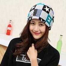 Women Autumn and winter Pentagram grid cotton hat female Multifunction warm scarf Dance Month cap