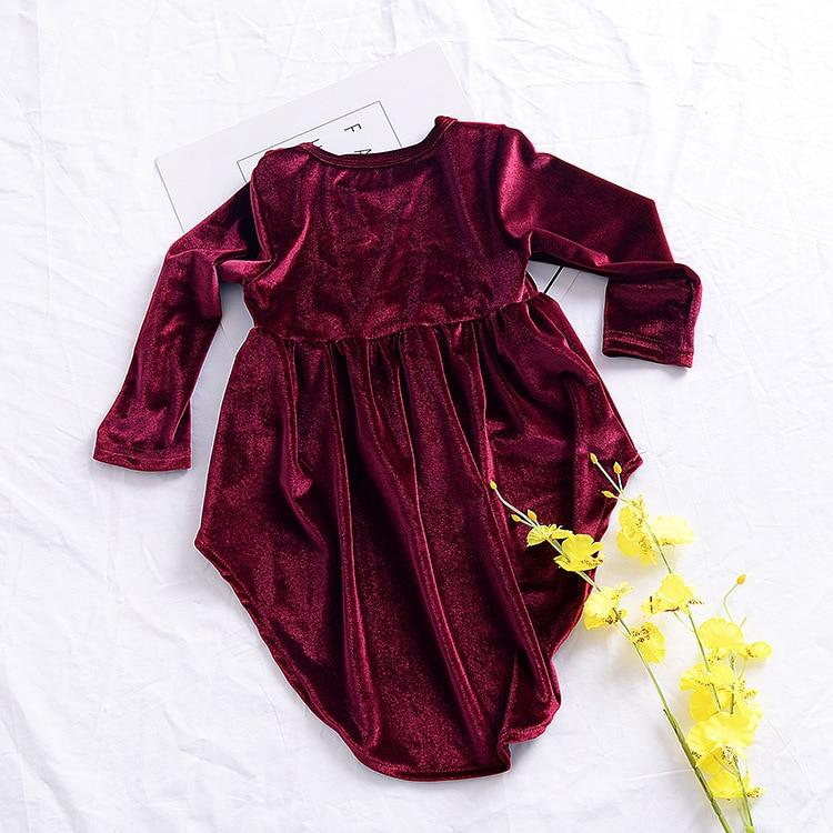 1bf94a9f17cf6 Robe de filles en velours doré robe de princesse fille pourpre robes ...