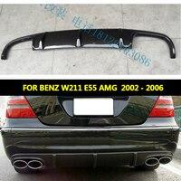Рассеиватель задней губы из углеродного волокна класса E для W211 E55 для Mercedes Benz W211 E55 AMG Седан 4 двери 2002 2006 четыре выхода