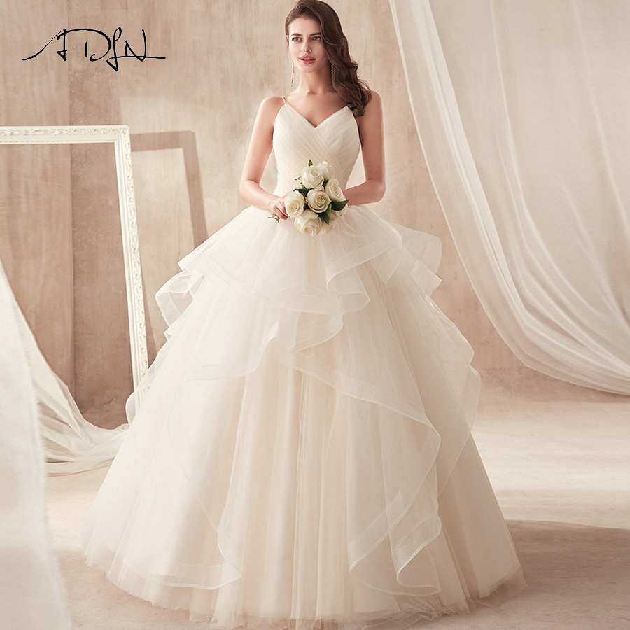 ADLN Elegant Ball Gown Wedding Dresses Spaghetti Straps Pleats Ruffles Princess Bridal Gowns Robe De Mariage