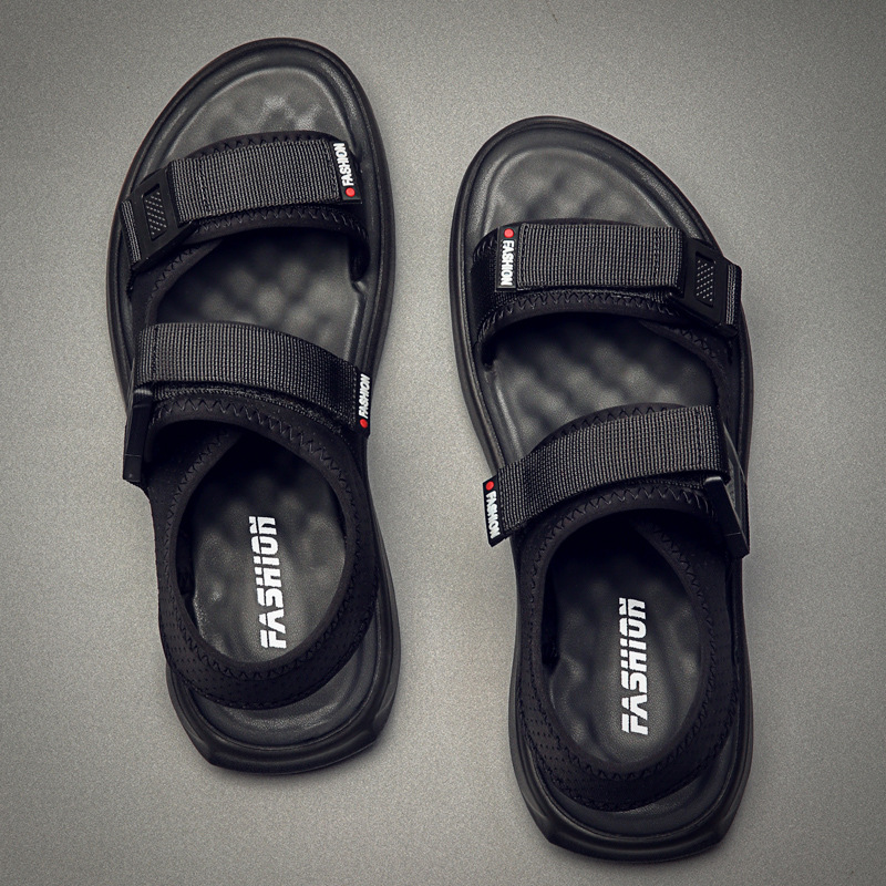 Sandals Men Summer Shoes 2019 Man Black Beach Sandals Flat Thick Sole Non-slip Ins Fashion Brand Male Shoes KA1274