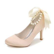 Elegant pearl beading ankle strap ribbon bowknot ladies dress shoes for bridal wedding party evening blue white small big size