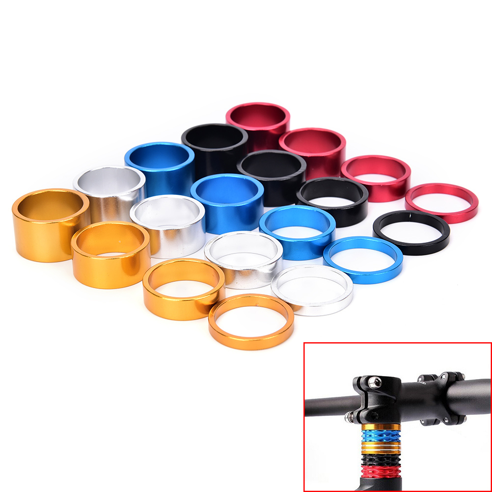 4pcs/set Aluminum Bike Headset Washer Mountain Bicycle Front Fork Washer Bike Stem Handlebar Spacers Ring Gasket(China)