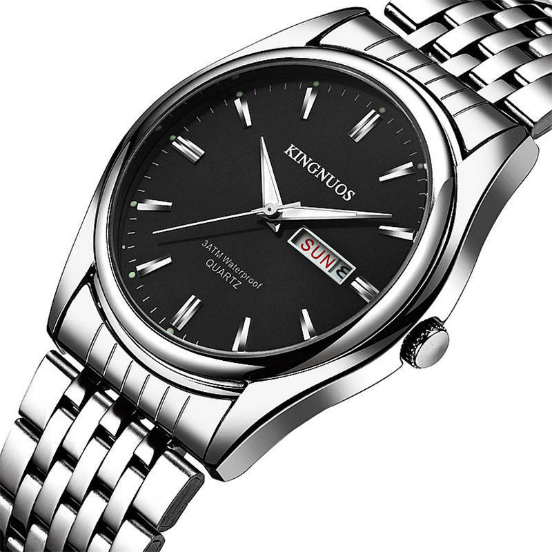 KINGNUOS Men's Watches Black Watchband Stainless Steel Wrist Watch Fashion Quartz Clock English Calendar Hour Time Waterproof все цены