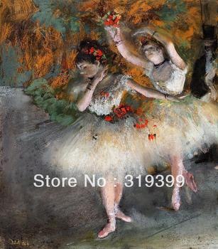 Oil Painting Reproduction on Linen Canvas,Two Dancers Entering the Stage by Edgar Degas ,Free DHL FAST Shipping,100%handmade