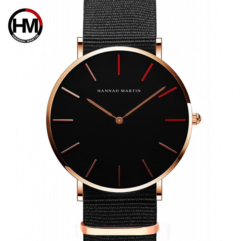 HANNAH MARTIN Brand Japan Quartz Movement Men Waterproof Wrist Watches Fashion Luxury Ultra Thin Nylon Creative Ladies Watches