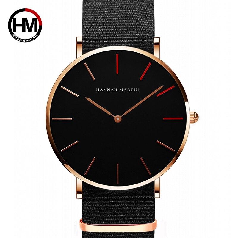 HANNAH MARTIN Marke Japan Quarzwerk Männer Wasserdichte Armbanduhren Fashion Luxury Ultra Thin Nylon Kreative Damen Uhren