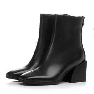 Image 4 - MORAZORA 2020 en kaliteli tam hakiki deri ayakkabı kadın yarım çizmeler zip kare topuklu Chelsea çizmeler moda elbise ayakkabı kadın