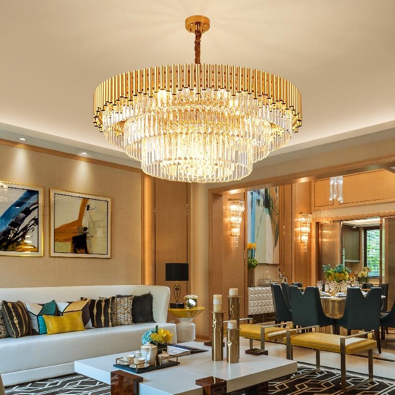 Living room crystal lamp light luxury post-modern bedroom restaurant simple atmosphere round ceiling lamp Nordic crystal chandel