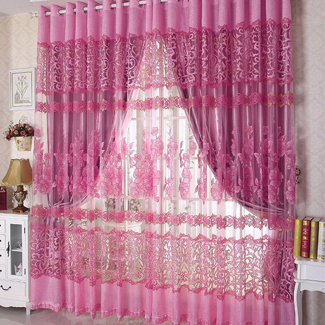 Online Shop Luxury Tulle for Windows Curtain Jacquard Embroidered ...