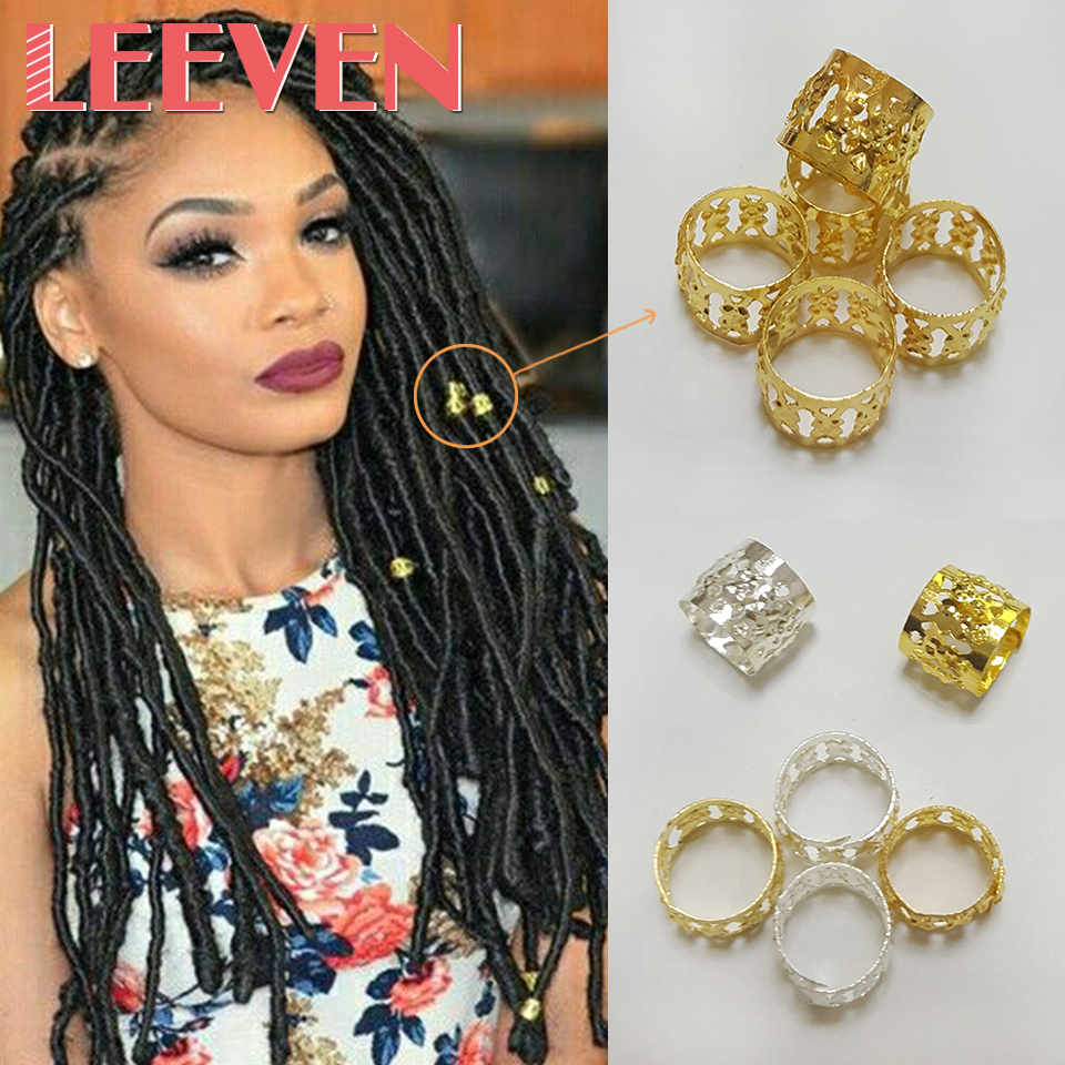 60*8mm Dreadlock Beads Adjustable Hair Braid Rings Cuff Clips Tubes Jewelry