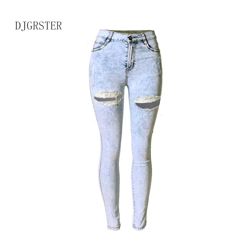 DJGRSTER 2017 Summer New Fashion Cotton Jeans Women Loose tights Waist Washed Vintage Hole Ripped Long Denim Pencil Pants new summer vintage women ripped hole jeans high waist floral embroidery loose fashion ankle length women denim jeans harem pants