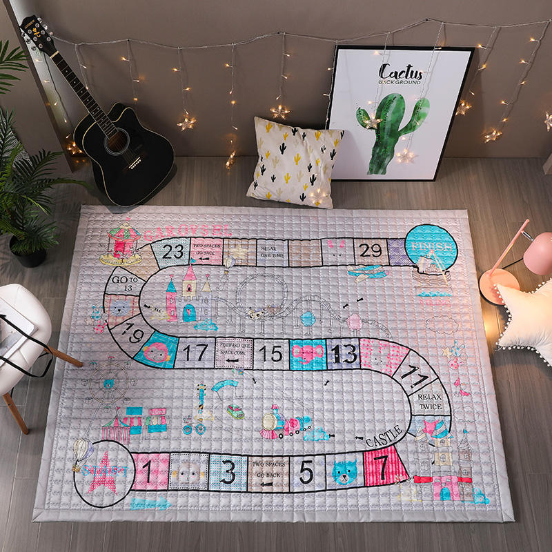 TREENDPOOL Baby Cotton Play Mat Children 150x200CM Ludo Game Carpet Machine Washable Rugs For Living Room/Bedroom Anti-skid