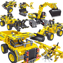 2 in 1 Compatile legoing Technic city Engineering Building Blocks Excavator digger Truck Plane Robot kits kids Toys Bricks Child(China)