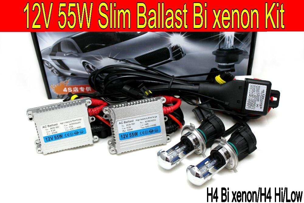 Gratuit Shipping12V 55 w H4 Haute/Faible Luminosité Xénon/Bi Kit Xénon CACHÉ Kit De Conversion 8000 K 4300 K 10000 K De Phare De Voiture