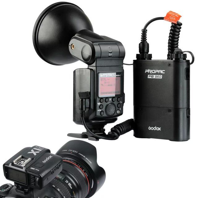 Godox Witstro AD360II-C TTL Powerful Speedlite Flash + PB960 Lithium Battery Black + X1C TTL Transmitter for Canon EOS Camera godox witstro ar400 400w li ion battery professional macro led ring flash speedlite 2 in 1 led video light 5600k