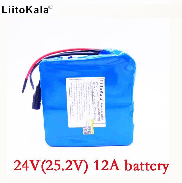 LiitoKala 24v 12ah li-lon battery 25.2v 12ah BMS 250w 24v 350w battery pack for wheelchair motor kit electric power no charger liitokala 6s6p 24v 25 2v 12ah battery 18650 lithium ion battery portable backup power pcb 24v 25 2v 1a battery charger